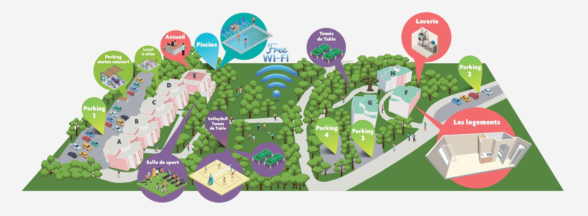 Campus de Bissy, plan des installations et services offerts dans le campus.
