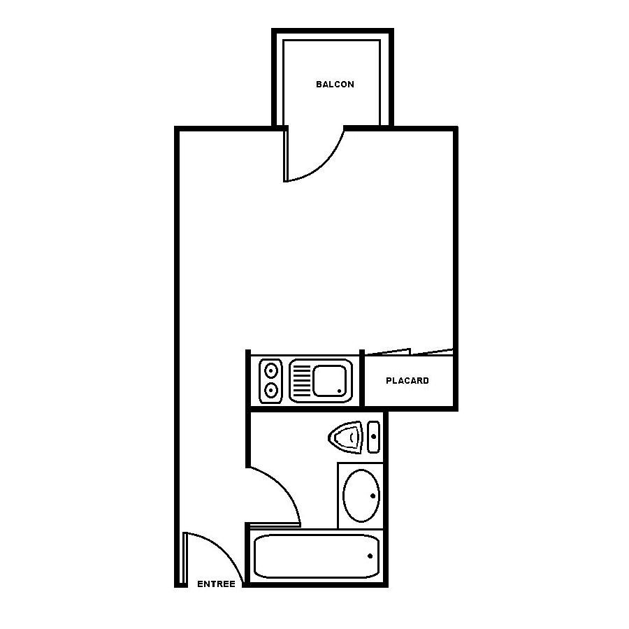 Plan de masse studio 23m2 avec balcon Campus de Bissy